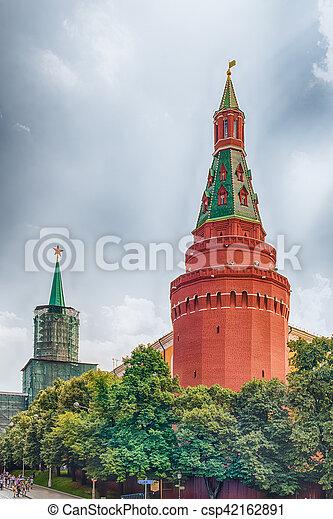 The scenic Corner Arsenalnaya Tower of the Moscow Kremlin, Russia - csp42162891