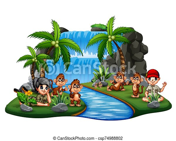 The scouts with monkeys on island waterfall - csp74988802