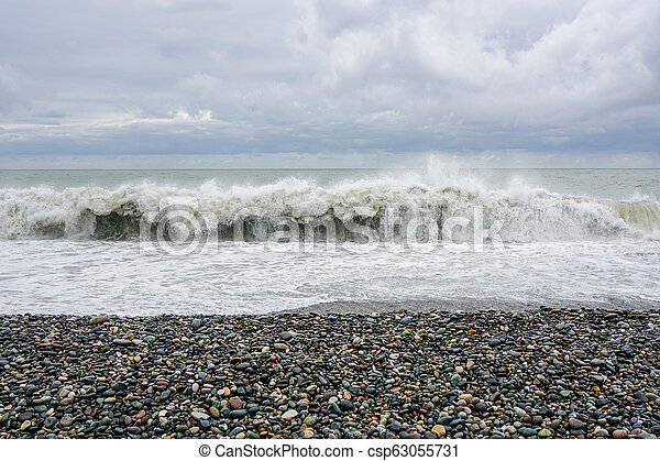 the sea coast of the Black Sea in stormy weather, big waves - csp63055731