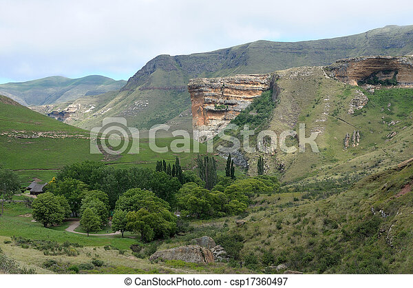 The Sentinel and Glen Reenen rest camp in the Golden Gate Highlands National Park, South Africa - csp17360497