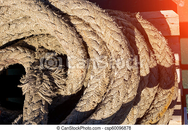 the ship's cable is rolled up close-up - csp60096878