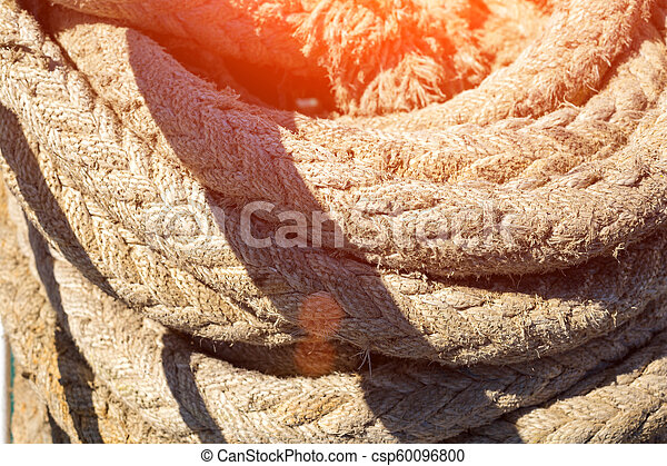 the ship's cable is rolled up close-up - csp60096800