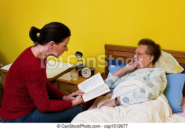 The sick old woman is visited  - csp1512677