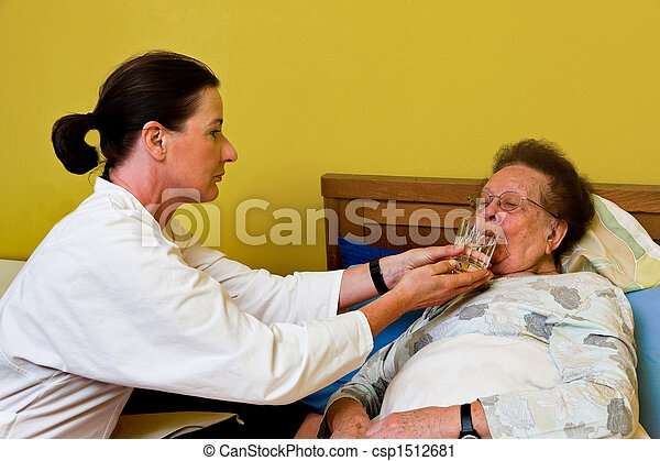 The sick old woman is visited  - csp1512681