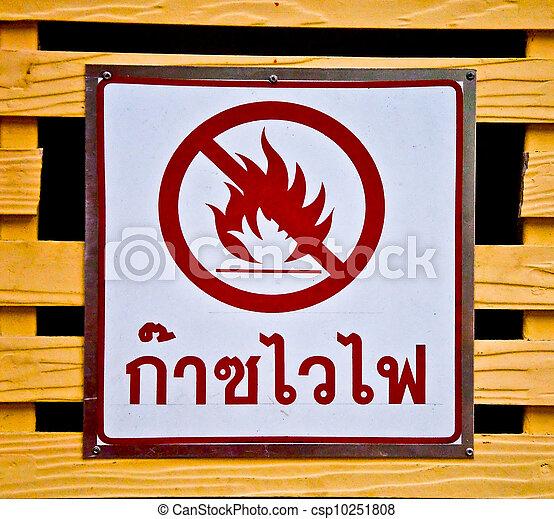 The Sign warning flammable gas hazard - csp10251808