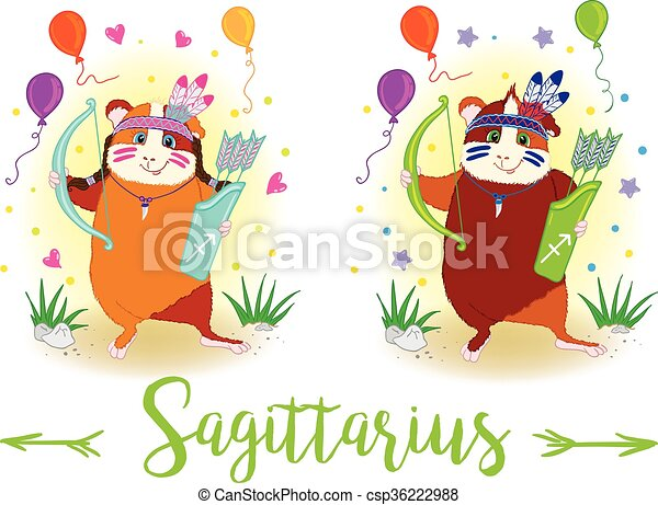 The signs of the zodiac. Guinea pig. Sagittarius. - csp36222988