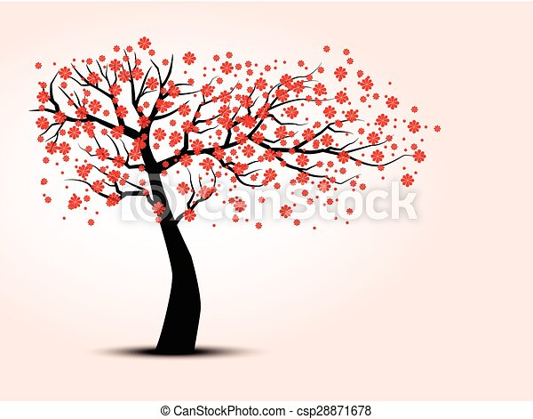 The silhouette of cherry trees - csp28871678