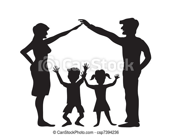 the Silhouette of family symbol - csp7394236