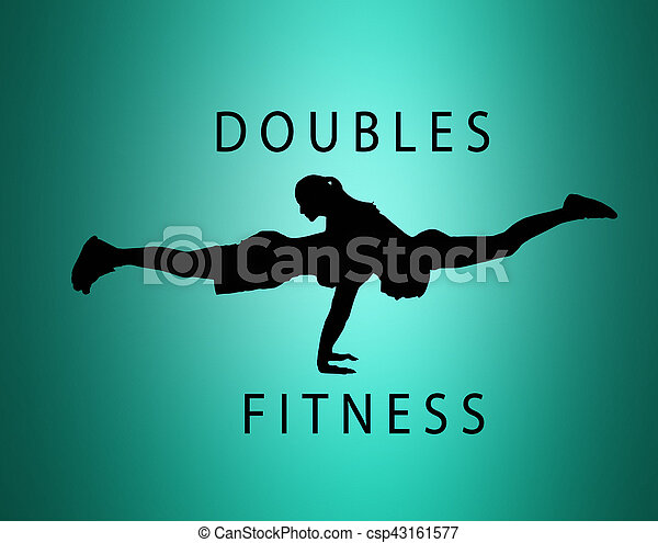 the silhouette of fit woman and man doing some push ups at the gym