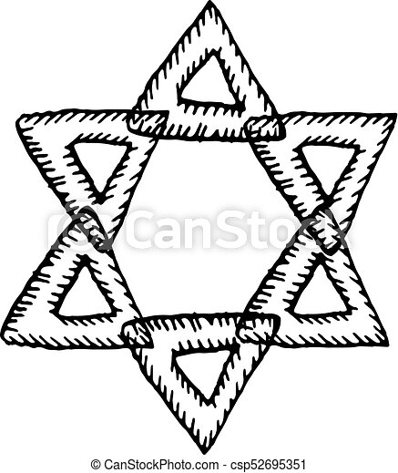 the six pointed star of david the jewish sign hand draw rh canstockphoto com Bethleham Star Clip Art North Star Clip Art