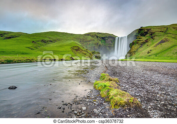 The Skogafoss waterfall in Iceland - csp36378732