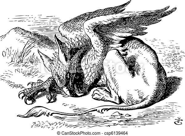 The Sleeping Gryphon - Alice in Wonderland original vintage engraving. They very soon came upon a Gryphon, lying fast asleep in the sun. Illustration from John Tenniel, published in 1865. - csp6139464