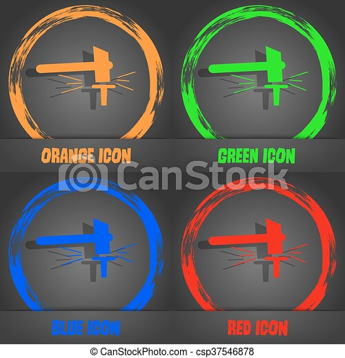 The smithy. Forge and stithy, blacksmith icon. Fashionable modern style. In the orange, green, blue, red design. Vector - csp37546878