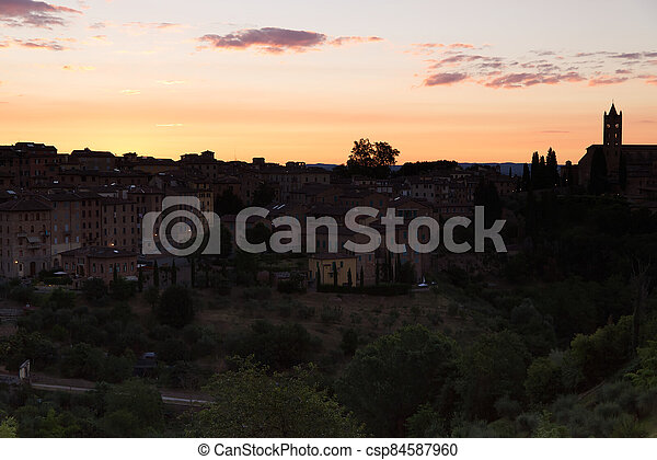 The splendid sunrise over the city of Siena - csp84587960