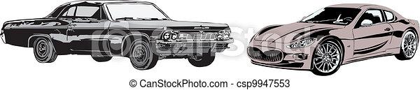 The sport car and retro car - csp9947553