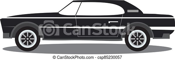 The sports car in flat style vector an illustration with the image of the american muscle sports car.Side view, isolated. - csp85230057