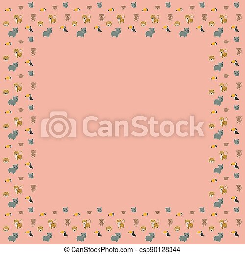 The square frame of cartoon cute leopards, rainbow toucans, spider monkeys, and their faces with white outlines like stickers on a pink background. A place for text. Vector. - csp90128344