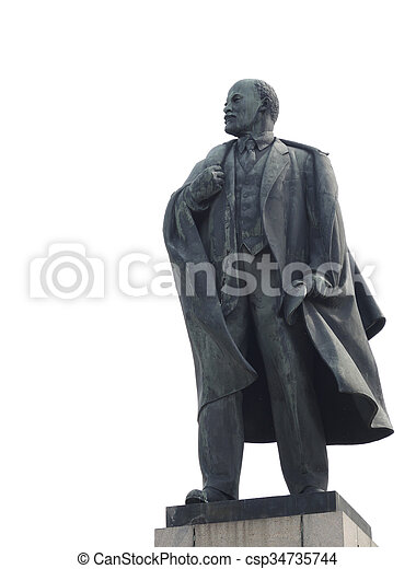 The statue of Lenin on a white background - csp34735744