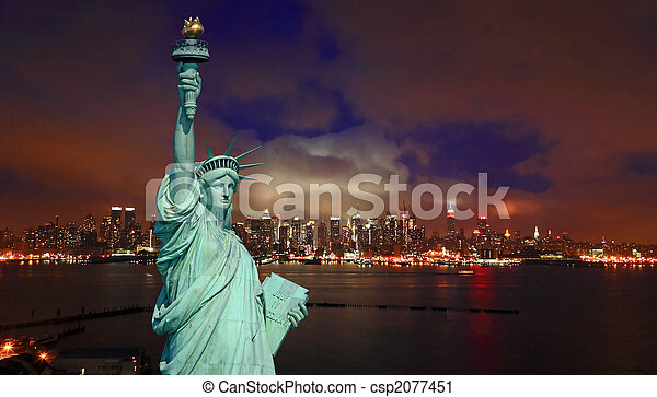 The Statue of Liberty and New York City - csp2077451