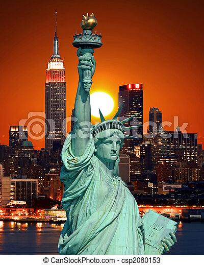The Statue of Liberty and New York City - csp2080153