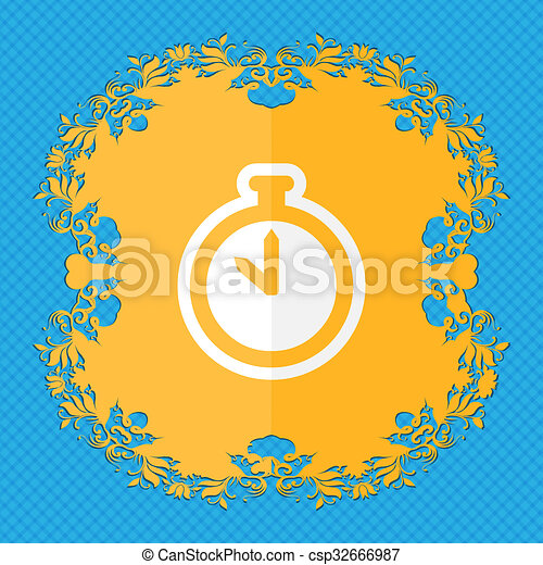 The stopwatch. Floral flat design on a blue abstract background with place for your text.  - csp32666987