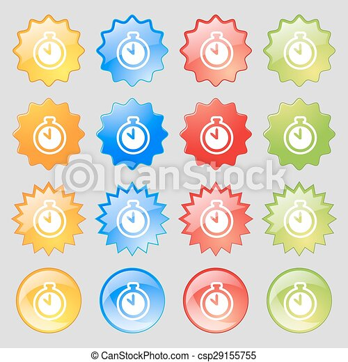 The stopwatch icon sign. Big set of 16 colorful modern buttons for your design. Vector - csp29155755