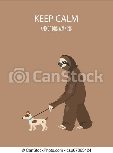 The story of one sloth. At home. Funny cartoon sloths in different postures set - csp67865424