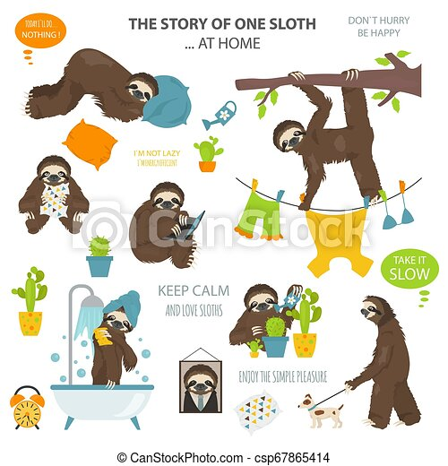 The story of one sloth. At home. Funny cartoon sloths in different postures set - csp67865414