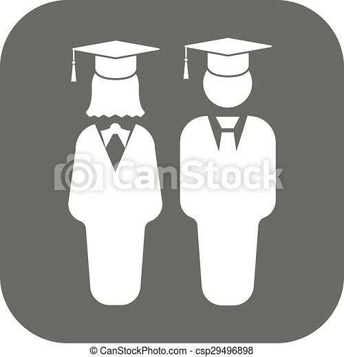 The student boy and girl icon. School, academy, college, education symbol. Flat - csp29496898