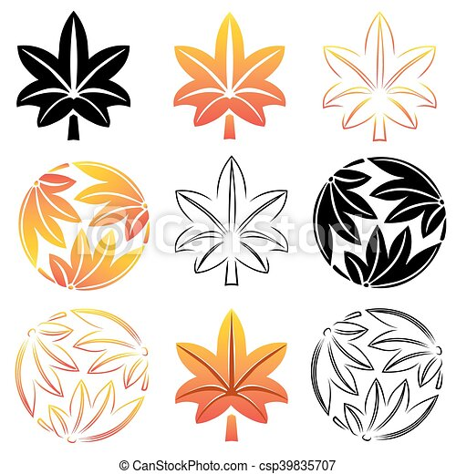 the stylized set maple leaves japanese symbolism vector clipart rh canstockphoto com japanese victories japanese vector meaning