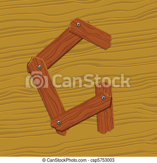 The stylized wooden letter. Vector illustration. - csp5753003