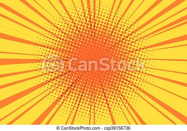 The sun comic book retro pop art background - csp39156736