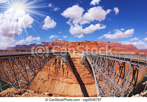 The sun is shining over Navajo Bridge - csp5545797