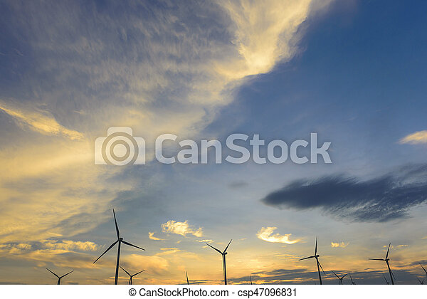 The sunset sky with the wind turbine - csp47096831