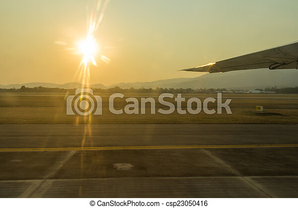 The sunset with airport. - csp23050416