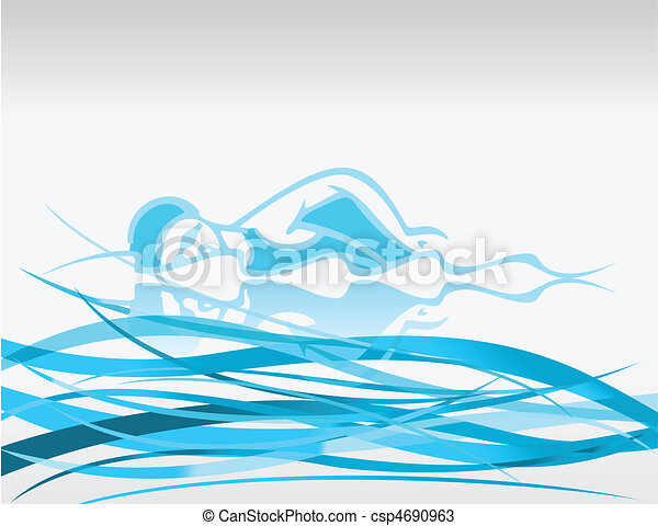 The swimmer floats on waves. A vector illustration - csp4690963