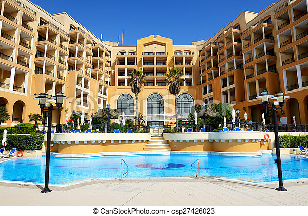 The swimming pool at luxury hotel, Malta - csp27426023