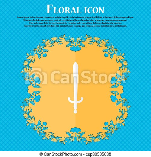 the sword. Floral flat design on a blue abstract background with place for your text. Vector - csp30505638