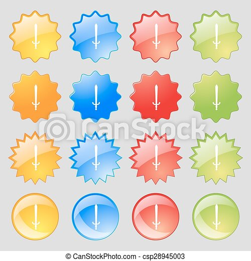 the sword icon sign. Big set of 16 colorful modern buttons for your design. Vector - csp28945003