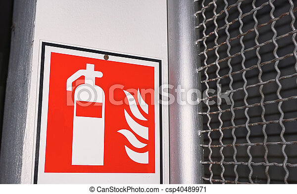 Close Up Of The Symbol Of Fire Extinguisher In The Factory