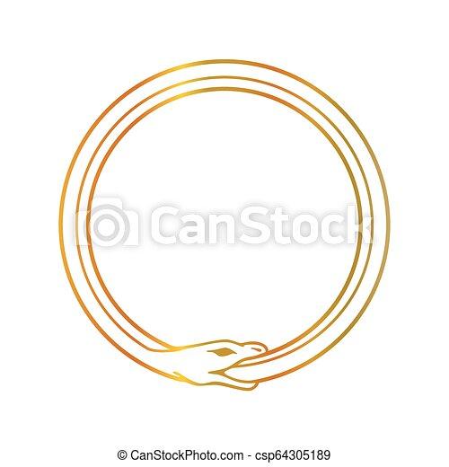 The symbol of Ouroboros snake- The self ingesting snake - csp64305189