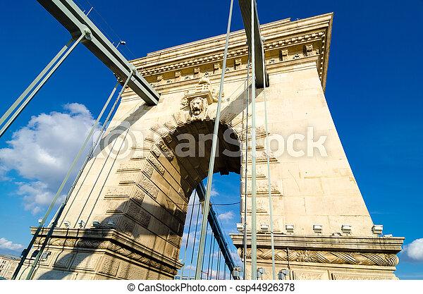 The Szechenyi Chain Bridge in Budapest, Hungary - csp44926378
