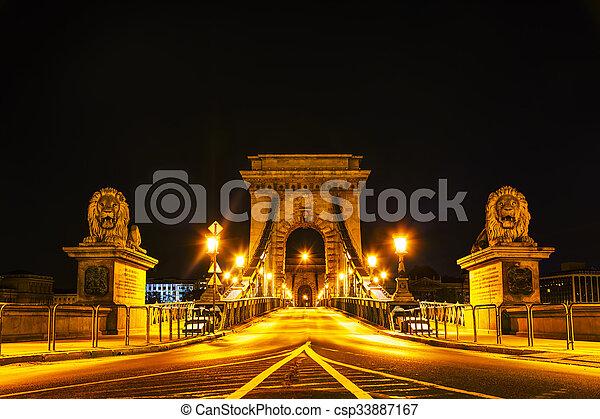 The Szechenyi Chain Bridge in Budapest - csp33887167