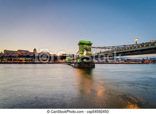 The Szechenyi Chain Bridge in Budapest, Hungary. - csp54592450