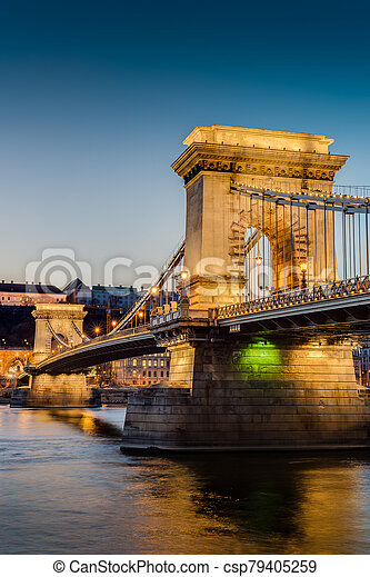 The Szechenyi Chain Bridge in Budapest, Hungary. - csp79405259