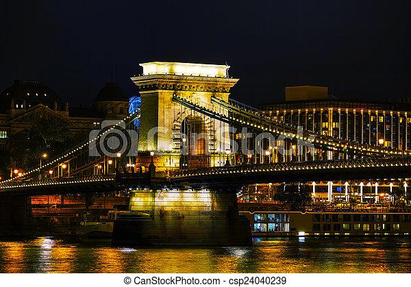 The Szechenyi Chain Bridge in Budapest - csp24040239