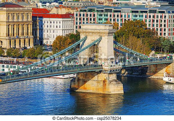 The Szechenyi Chain Bridge in Budapest - csp25078234