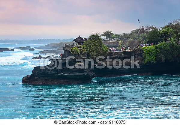 The Tanah Lot Temple, the most important indu temple of Bali, Indonesia. - csp19116075