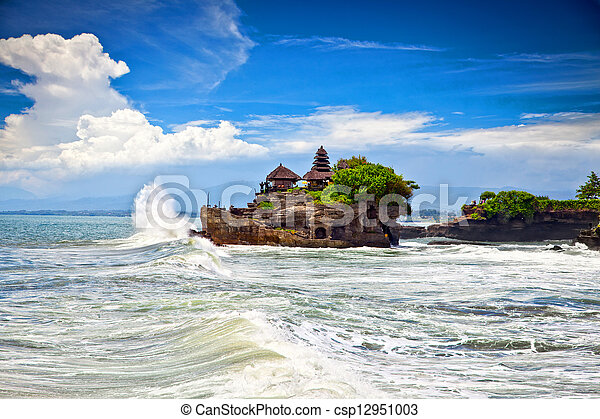 The Tanah Lot Temple, the most important hindu temple of Bali - csp12951003