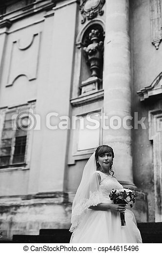 The tenderness bride with bouquet stands near castle - csp44615496